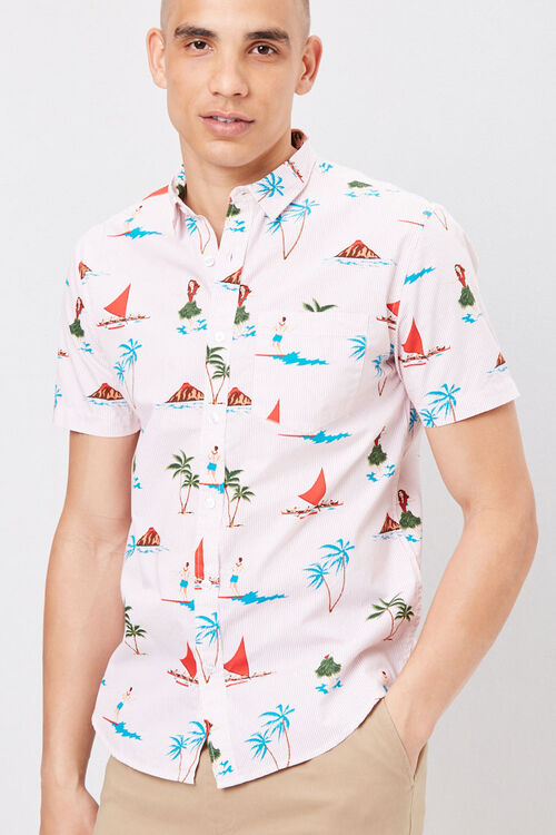 Fitted Pinstriped Tropical Shirt, image 1