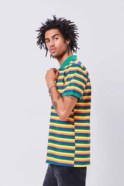 GREEN/MULTI Striped Knit Polo, image 2