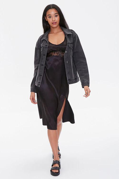 Satin Lace-Trim Dress, image 4