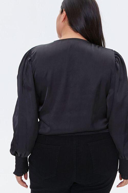 BLACK Plus Size Satin Tie-Front Top, image 3