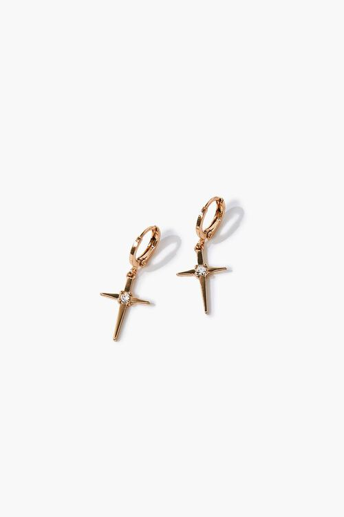 GOLD Cross Charm Drop Earrings, image 1