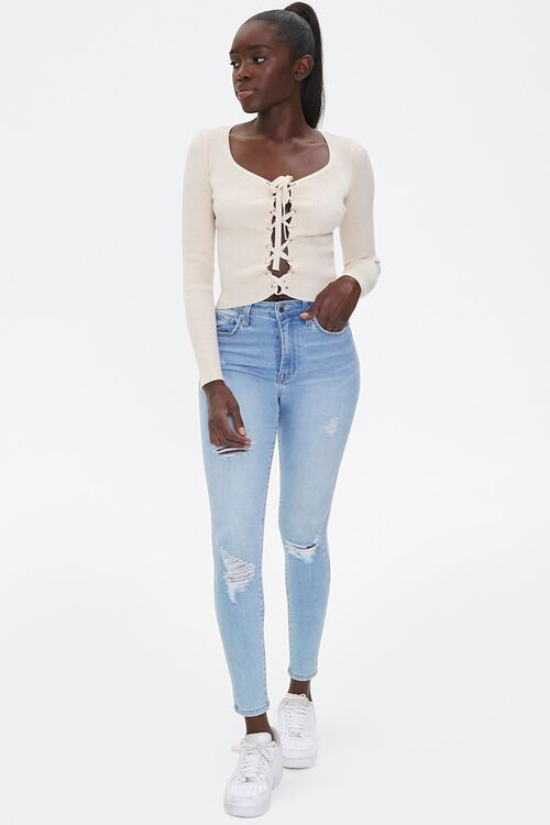 Sweater-Knit Lace-Up Top, image 4