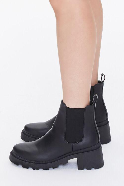 BLACK Faux Leather Chelsea Boots, image 2