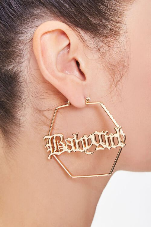 GOLD Upcycled Babygirl Hoop Earrings, image 1