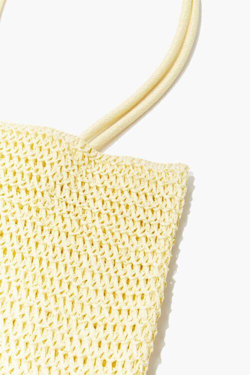 LIGHT YELLOW Basketwoven Tote Bag, image 2