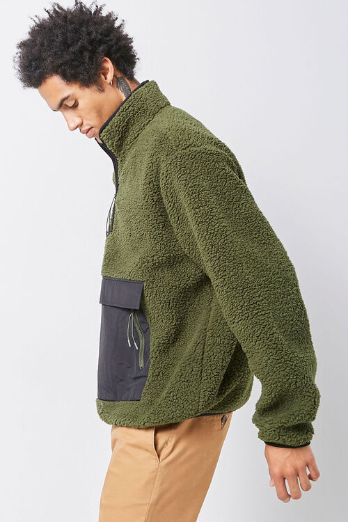Faux Shearling Contrast-Pocket Anorak, image 2