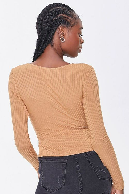 CAMEL Ribbed Surplice Long-Sleeve Top, image 3