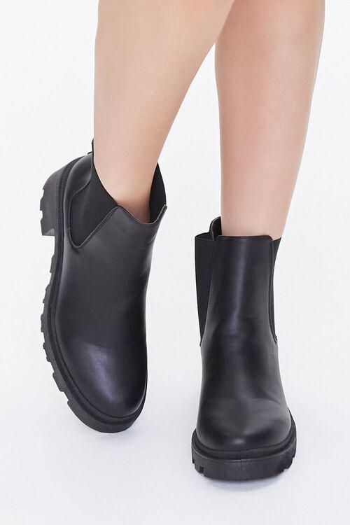 BLACK Faux Leather Chelsea Boots, image 4