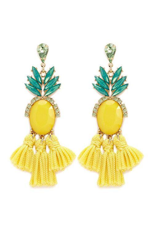 Pineapple Tassel Drop Earrings, image 1