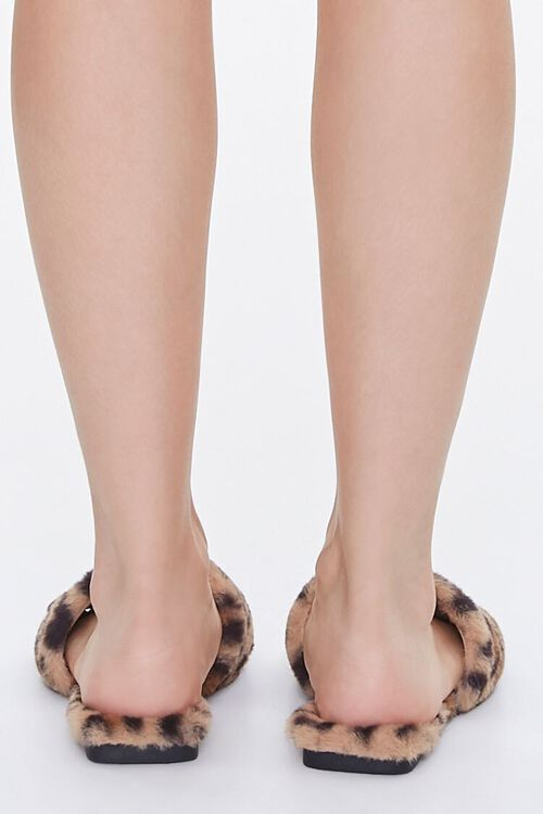 Faux Fur Leopard Print Slippers, image 3