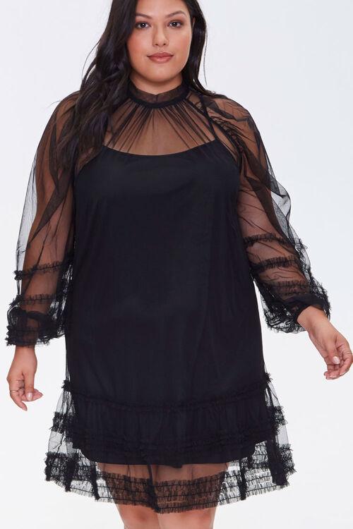 Plus Size Ruffled Mesh Mini Dress, image 1