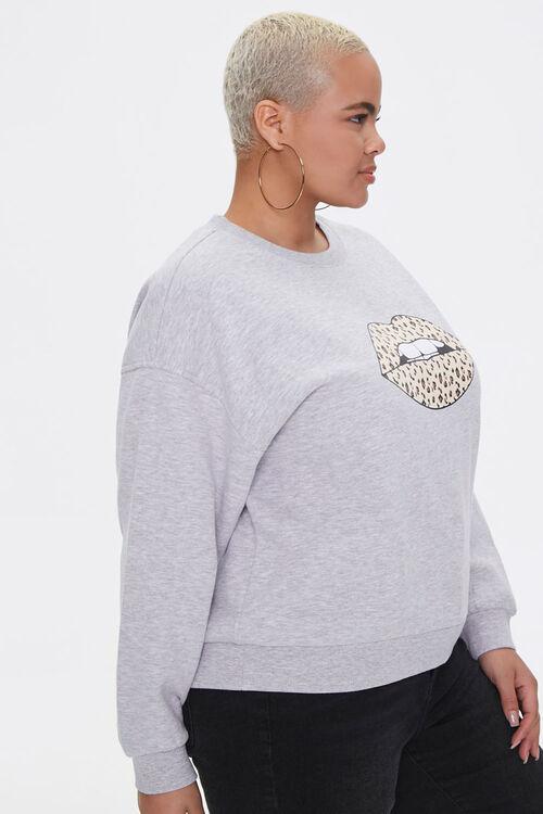 Plus Size Leopard Lips Sweatshirt, image 2