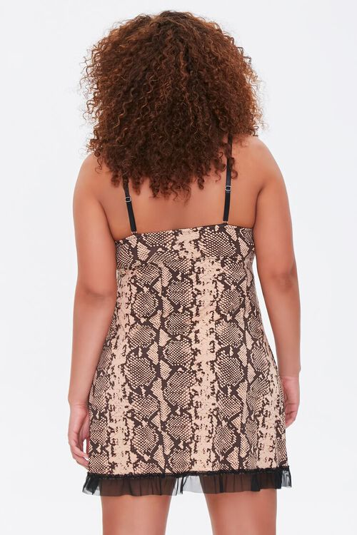 Plus Size Snakeskin Print Slip Dress, image 3