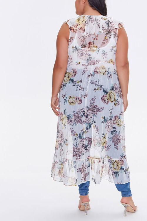 Plus Size Sheer Ruffled Floral Kimono, image 3