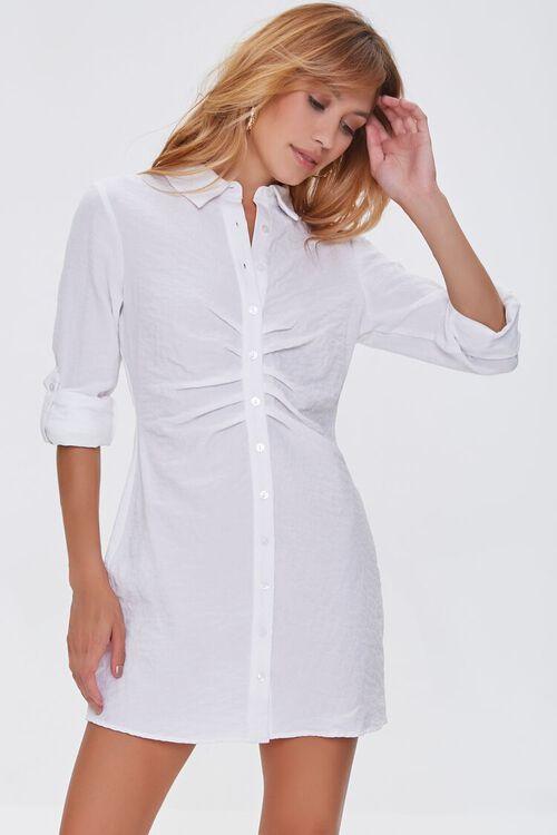 Ruched Mini Shirt Dress, image 1