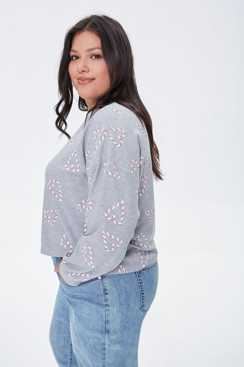 HEATHER GREY/MULTI Plus Size Candy Cane Heart Top, image 2