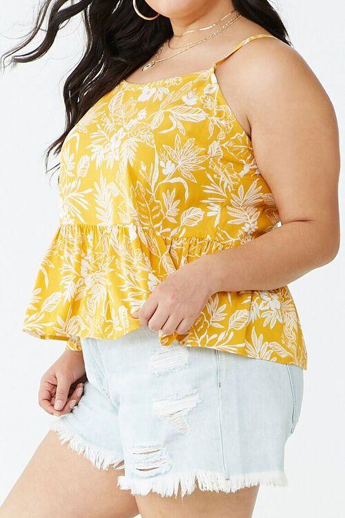Plus Size Tropical Print Ruffle-Hem Cami, image 2