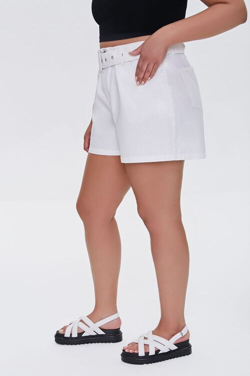 WHITE Plus Size Belted Shorts, image 3
