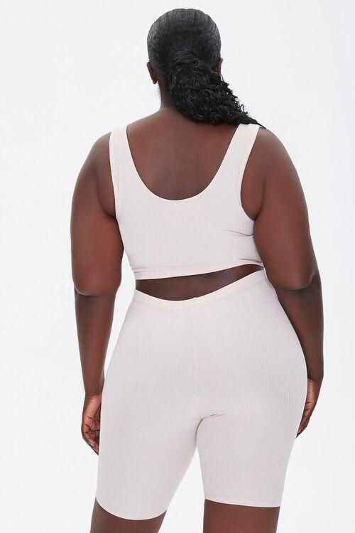 Plus Size Crop Top & Biker Shorts Set, image 3