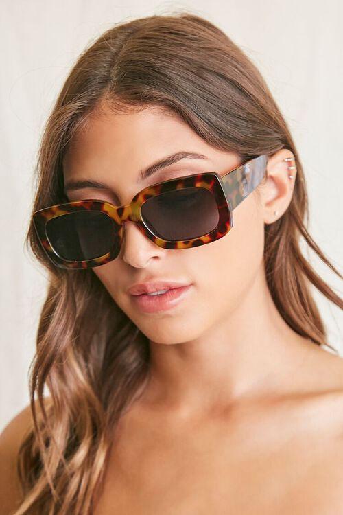 BLACK/MULTI Rectangle Frame Sunglasses, image 1