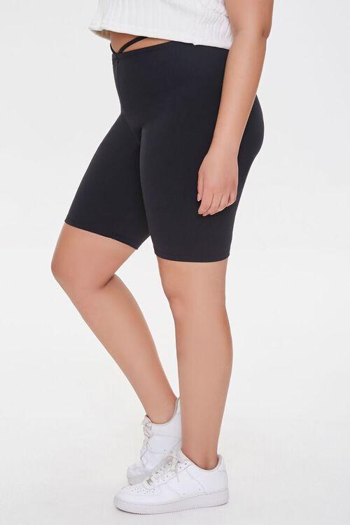 Plus Size Strappy Cutout Biker Shorts, image 3
