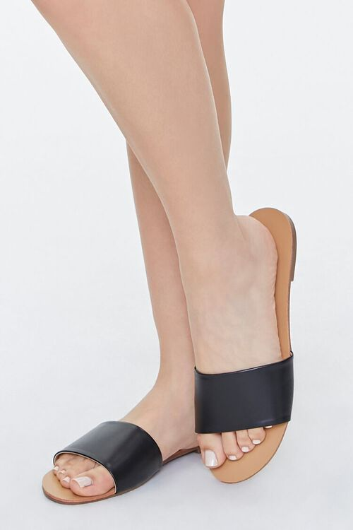 BLACK Faux Leather Flat Sandals, image 1