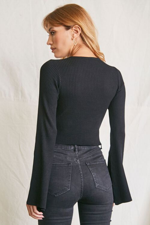 BLACK Cropped Bell-Sleeve Sweater, image 3