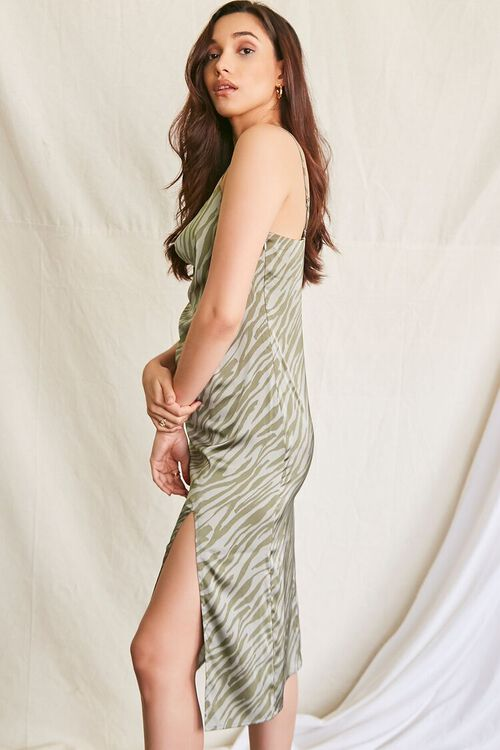 GREEN/MULTI Tiger Print Slip Dress, image 2