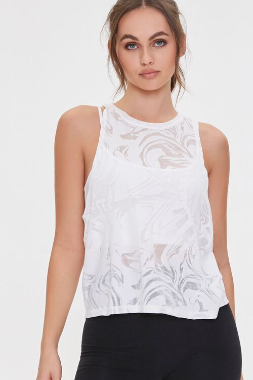 Active Marbled Cutout Tank Top, image 2