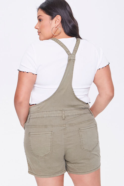 Plus Size Distressed Overall Shorts, image 3