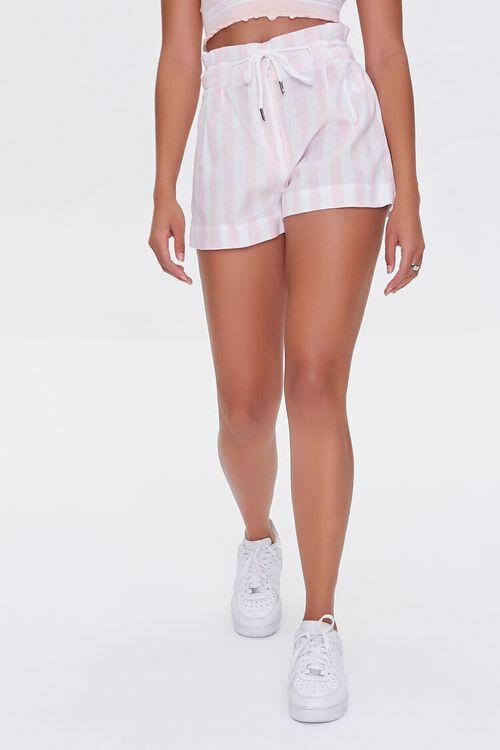 Striped Drawstring Paperbag Shorts, image 2