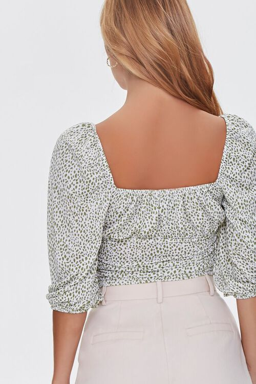 GREEN/CREAM Spotted Print Ruched Top, image 3