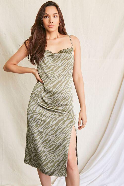 GREEN/MULTI Tiger Print Slip Dress, image 1