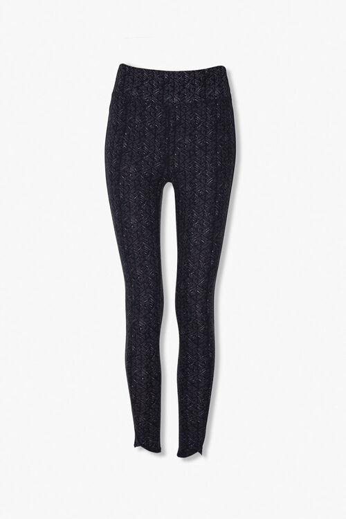 BLACK/CHARCOAL Marled Knit Geo Leggings, image 1