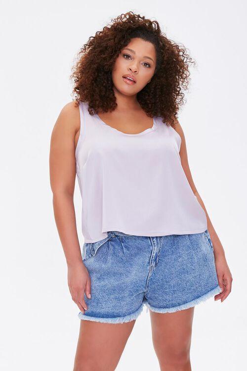 Plus Size Denim Paperbag Shorts, image 1