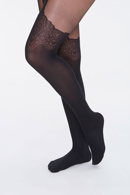 Ornate Heart Print Tights, image 4