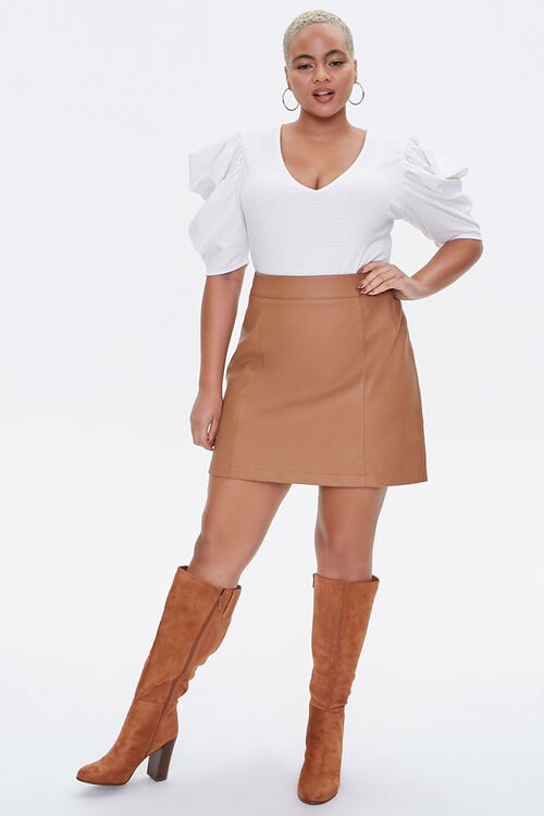 Plus Size Puff-Sleeve Bodysuit, image 4