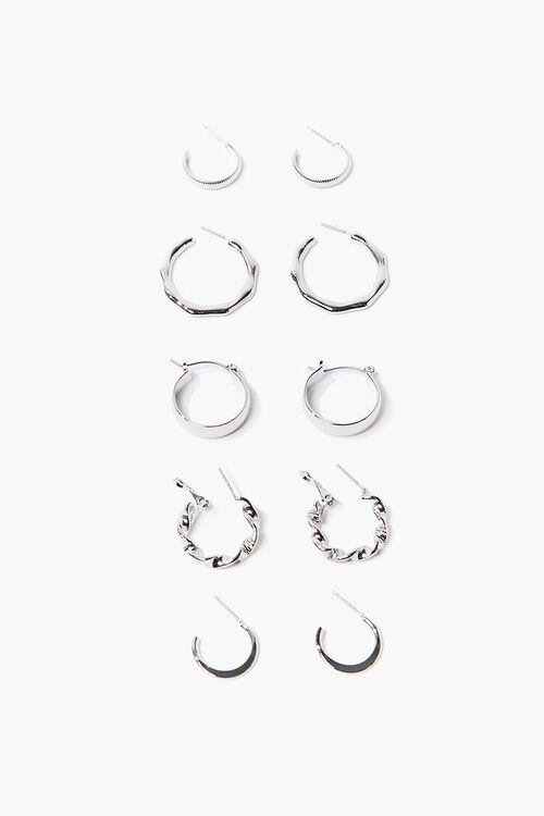 Smooth & Twisted Hoop Earring Set, image 1