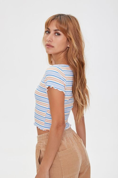 IVORY/BLUE Striped Button-Front Top, image 2