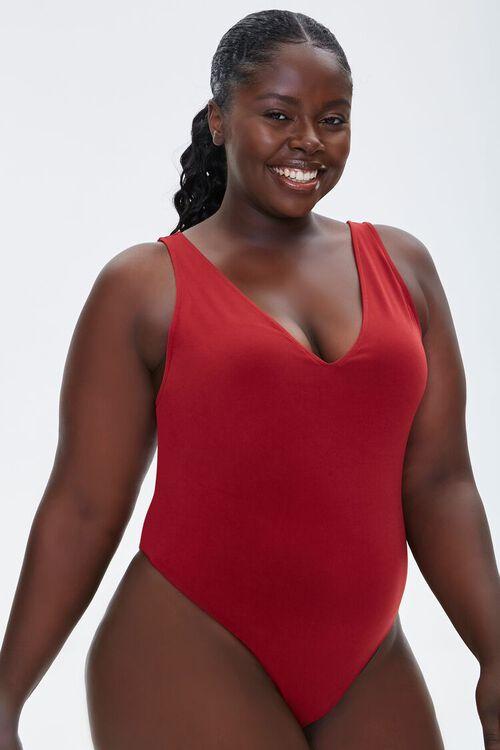 Plus Size Plunging Tank Bodysuit, image 5