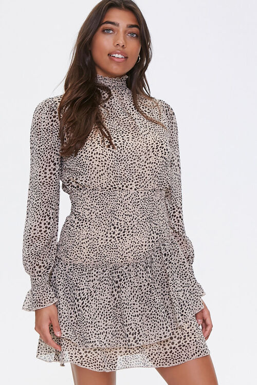 Cheetah Layered-Hem Mini Dress, image 1