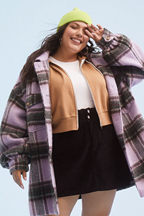 Plus Size Button-Front Plaid Jacket, image 1