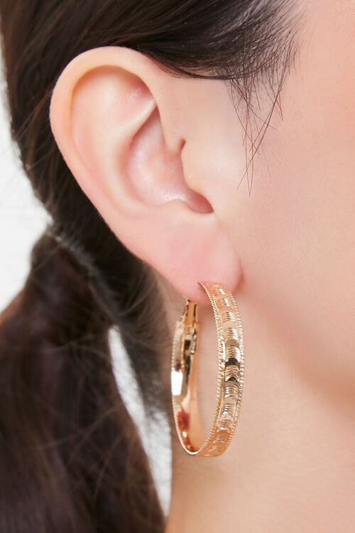 GOLD Etched Chevron Hoop Earrings, image 1