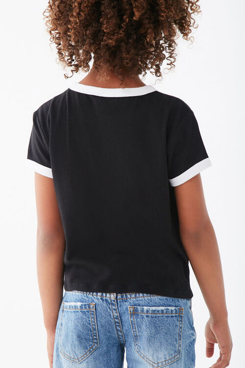 Girls Knotted Front Ringer Tee (Kids), image 3