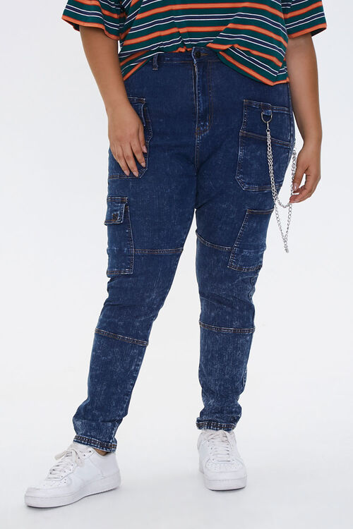 Plus Size Wallet Chain Skinny Jeans, image 2