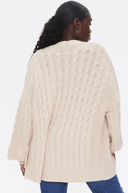 Cable Knit Open-Front Cardigan, image 3