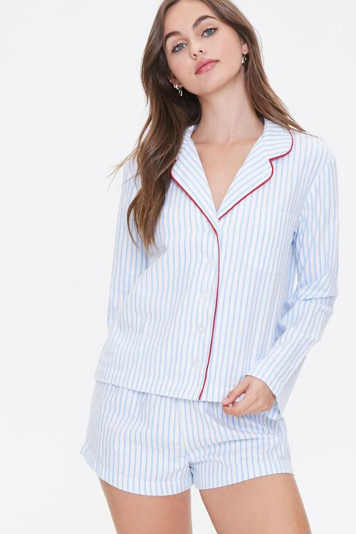 Striped Print Pajama Set, image 1