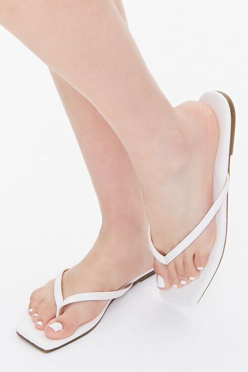 Faux Leather Toe-Thong Sandals, image 1