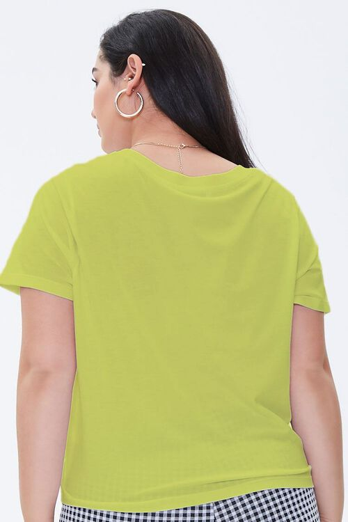 YELLOW Plus Size Relaxed V-Neck Tee, image 3