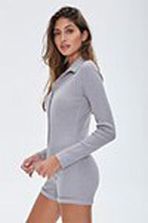 Ribbed Button-Front Romper, image 2